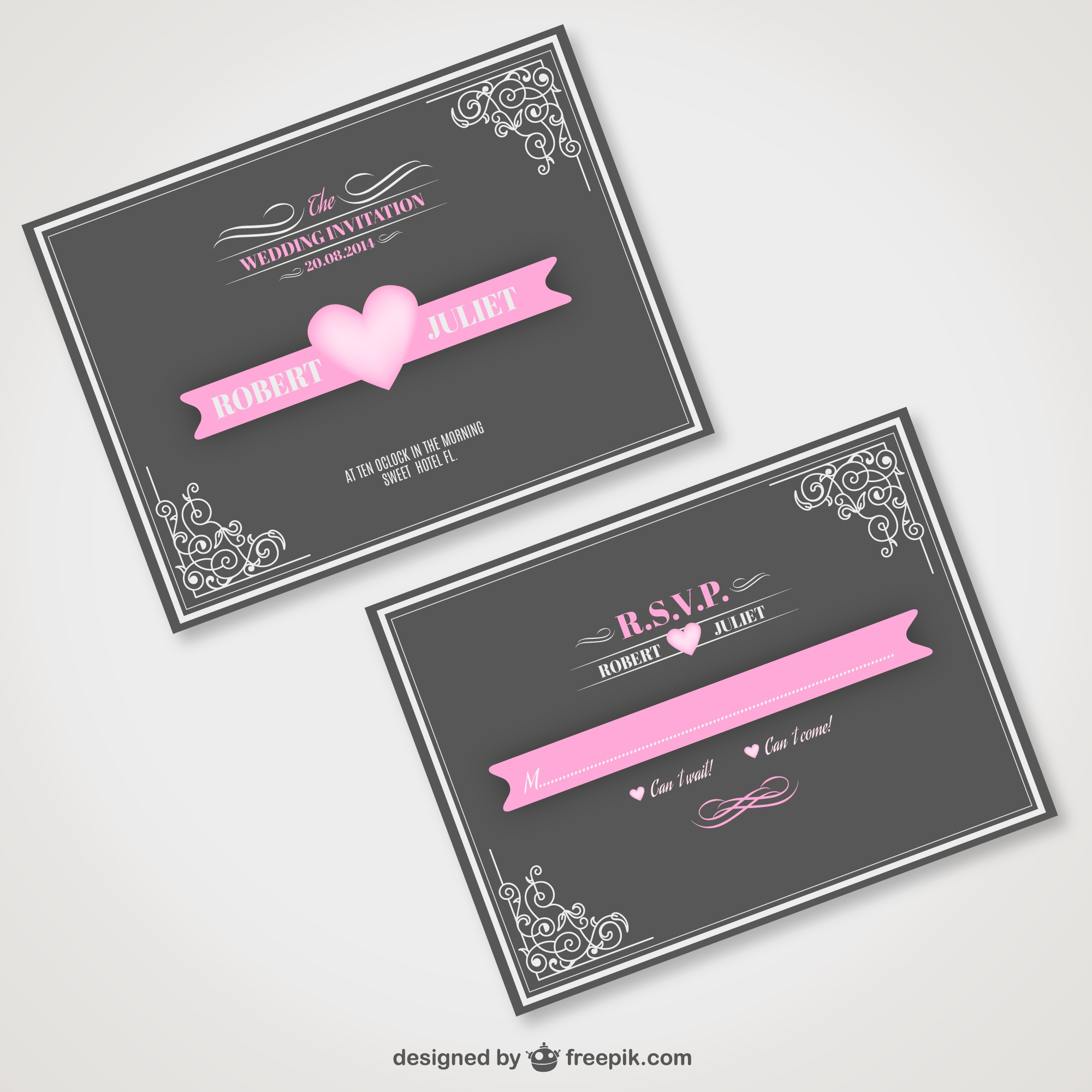 Vintage wedding invitation free for download