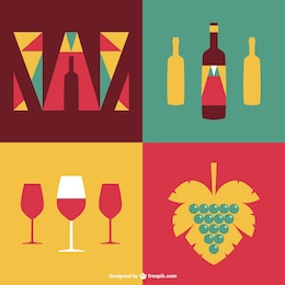 Vintage wine flat vector set