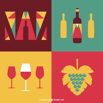 ヴィンテージワインフラットベクトル集合