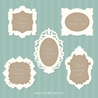 Vintage yellow frames and banners