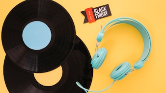Vinyl and headphones decoration for black friday