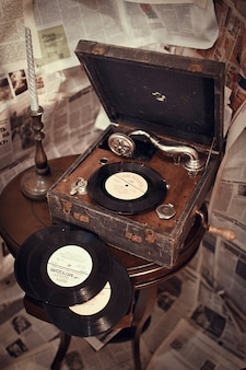 Vinyl records and an old record player