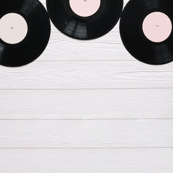 Vinyl records on table