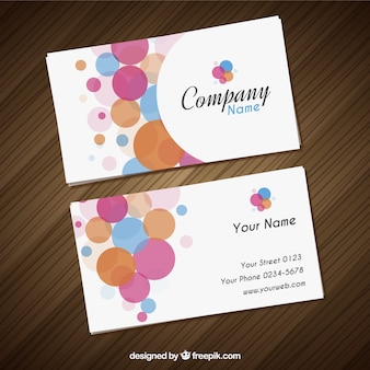 Visit card with colorful circles