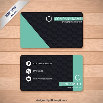 Vist card in turquoise and black color