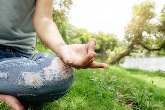 Vitality meditating lotus person idea summer