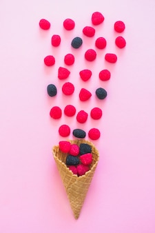 Waffle cone with berries