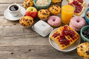 Waffles, donuts and cupcakes