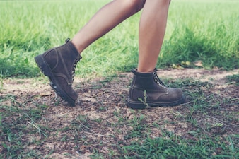 Walking with boots