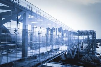 Walkway with glass walls