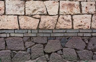 Wall made of bricks and stones