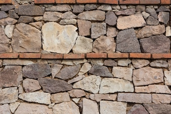 Wall made of stones and bricks