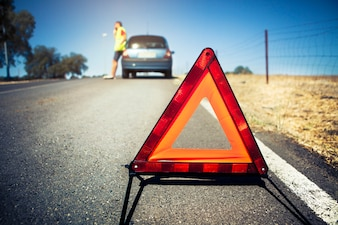 Warning triangle in a car breakdown