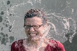 Water splash on face