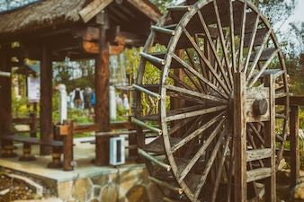 Water Wheels On River Amidst Trees