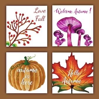 レッド、オレンジ、イエロー、グリーンの葉の水彩秋カード