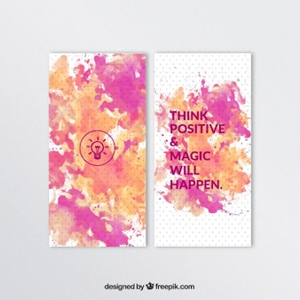 Watercolor banners with positive quote