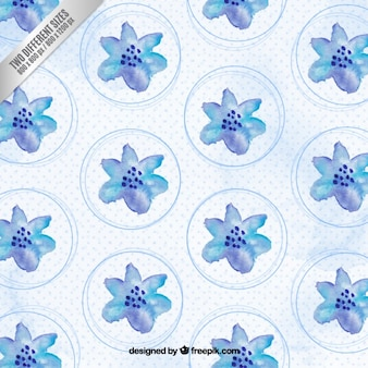 Watercolor blue flowers background