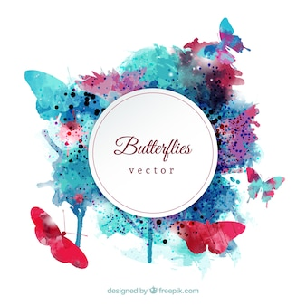 Watercolor butterflies label