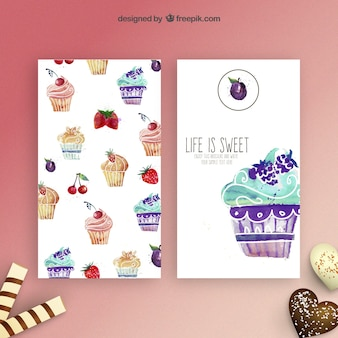 Watercolor cupcakes flyers