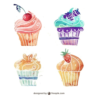 Watercolor cupcakes