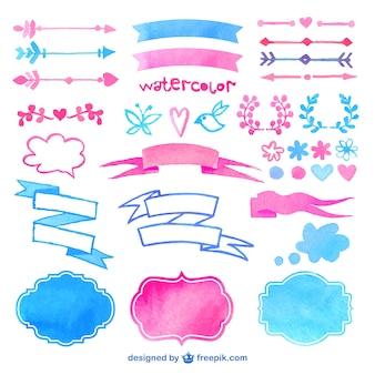 Watercolor decorative elements