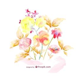Watercolor floral bouquet template