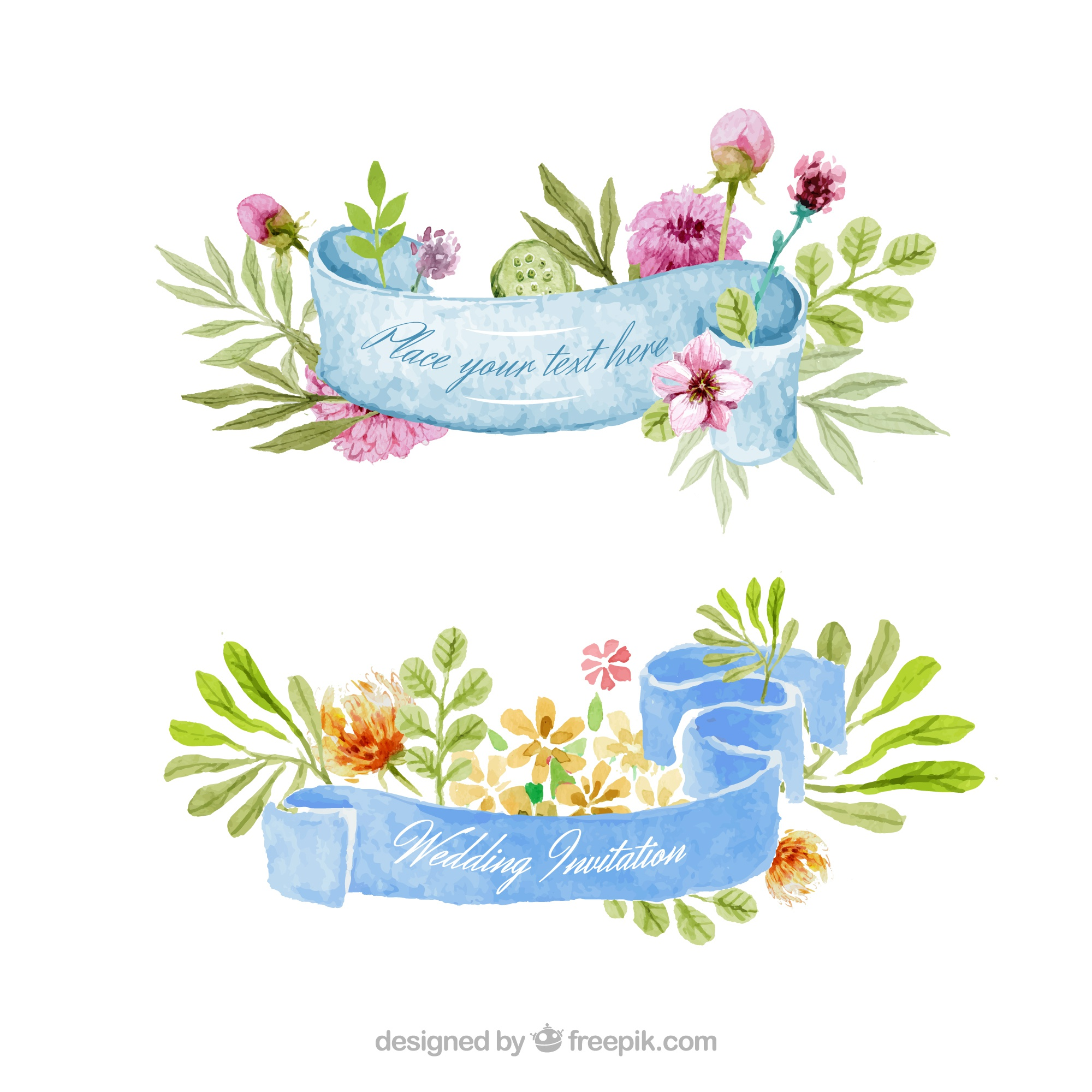Watercolor floral ribbons