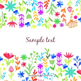 Watercolor flowers and leaves background