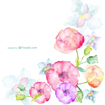 Watercolor flowers greetings card