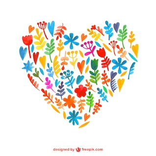 Watercolor flowers in heart shaped