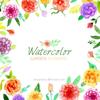 Watercolor garden flowers background