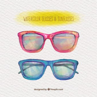 Watercolor glasses and sunglasses