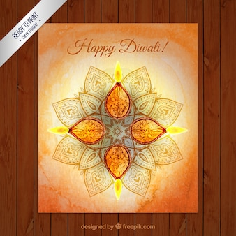 Watercolor greeting card for Diwali