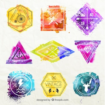 Watercolor hipster badges