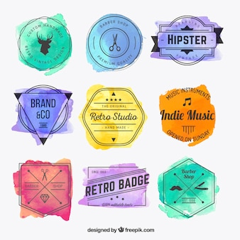 Watercolor hispter badges