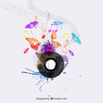 Watercolor music concept