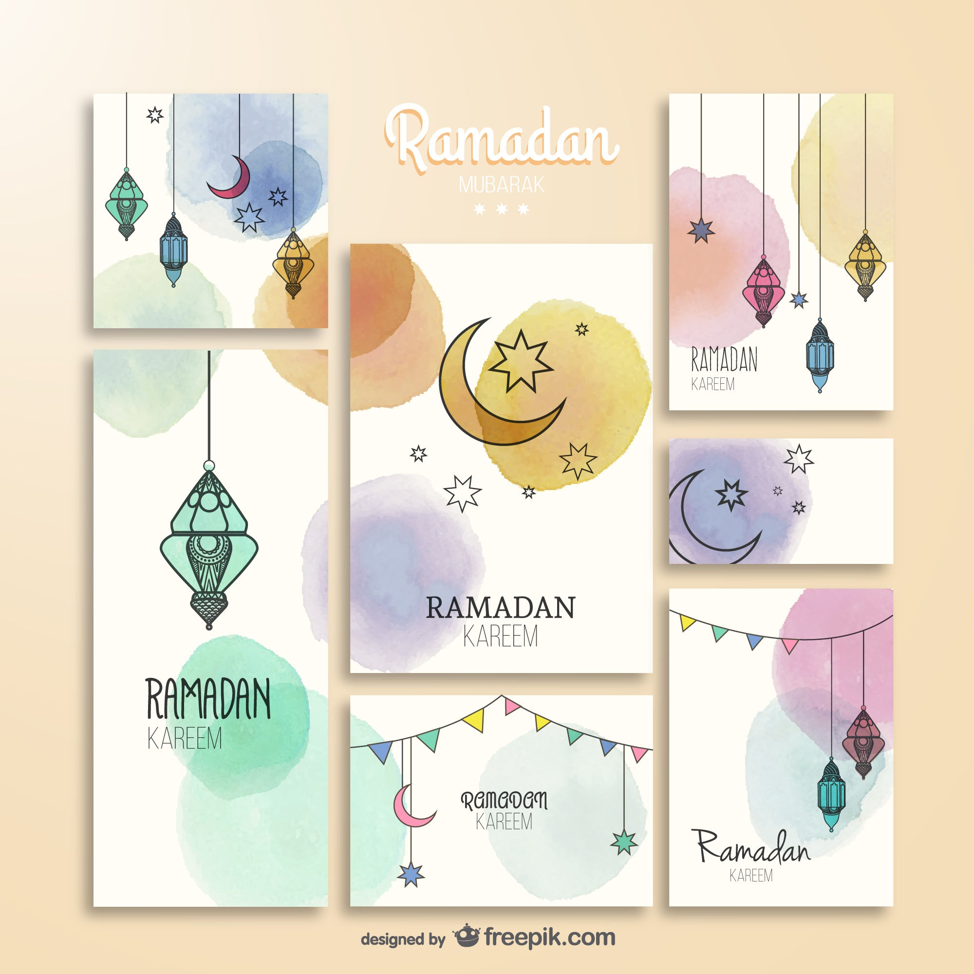 Watercolor Ramadam Kareem brochures