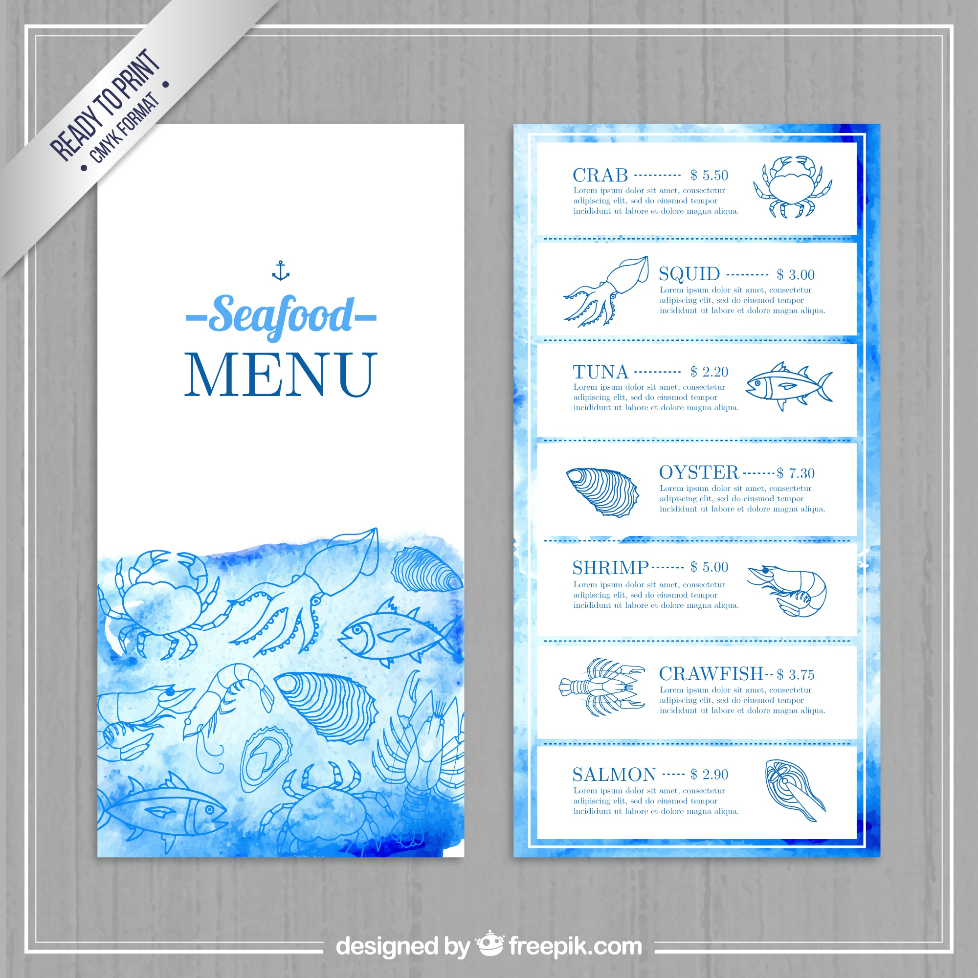Watercolor seafood menu