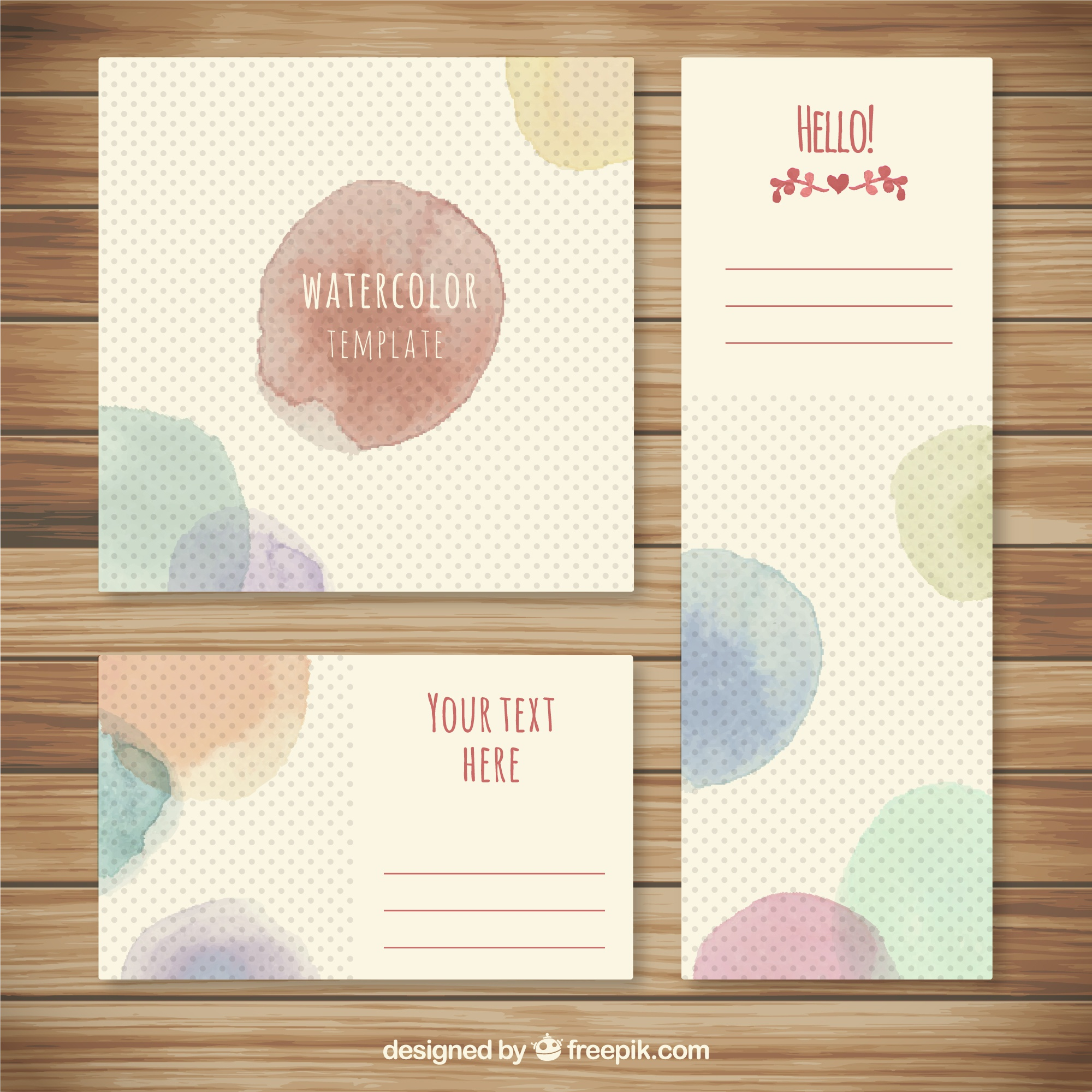 Watercolor splashes cards collection