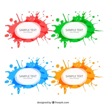 Watercolor splashes labels