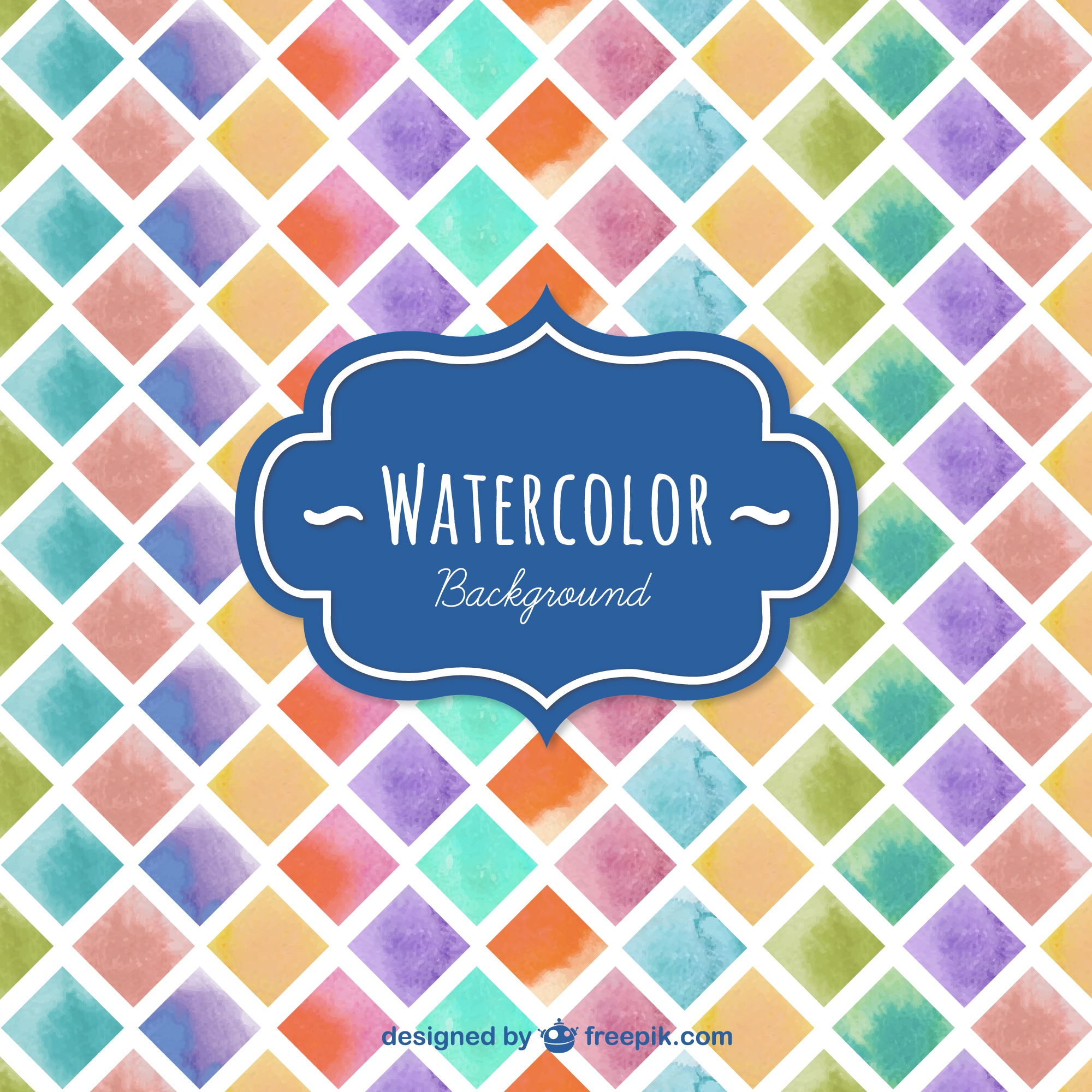 Watercolor squares background