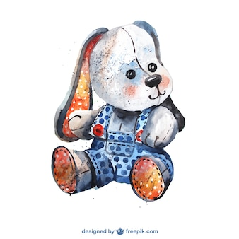 Watercolor stuffed animal