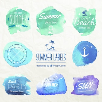 Watercolor summer labels