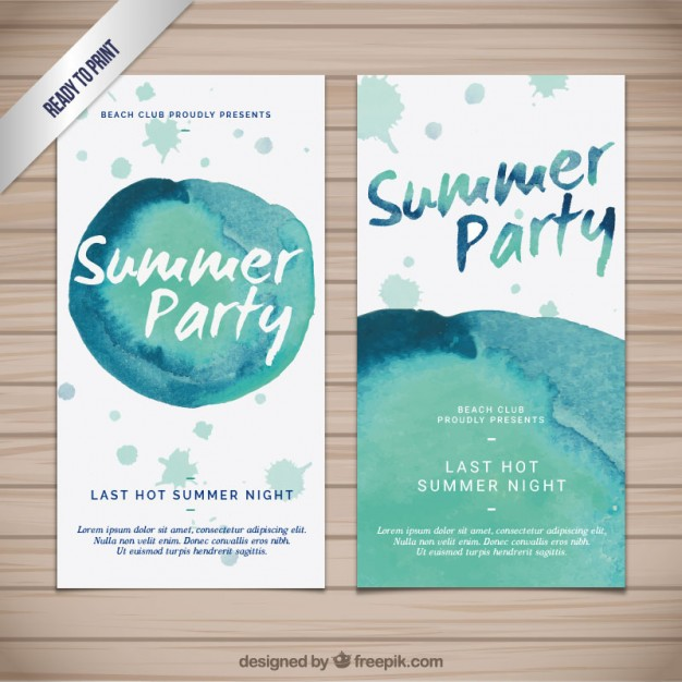 Watercolor summer paty banners