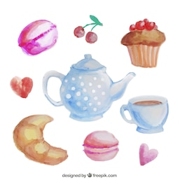 Watercolor teapot and sweets