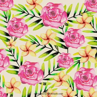 Watercolor tropical flowers background