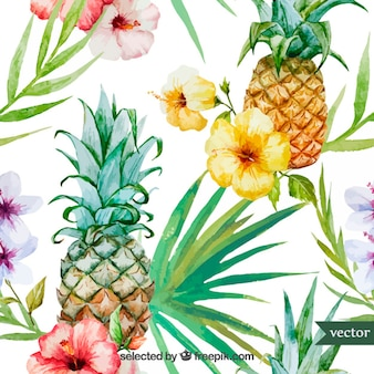 Watercolor tropical fruit and plants