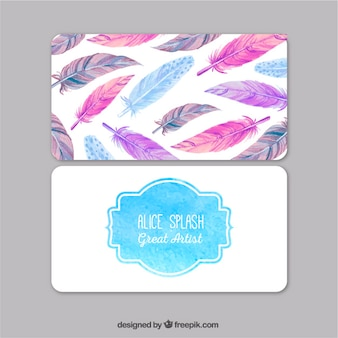 Watercolor visit card with feathers