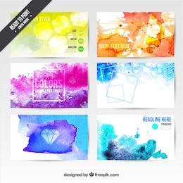 Watercolor visit cards